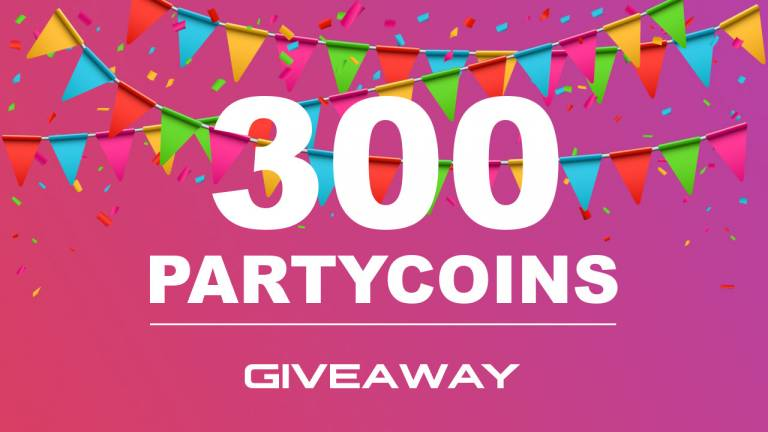 We give away 300 Partycoins to every new registered user!